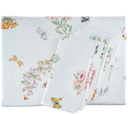 "Lenox Butterfly Meadow 60""x102"" Water Repel Tablecloth w/ 8 Napkins"