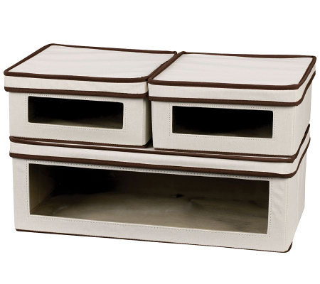 Window Canvas Storage Boxes w/ Lids - 2 Small,1 Large