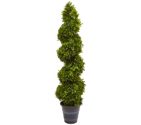 4' Boxwood Spiral Topiary Tree in Planter  by Nearly Natural