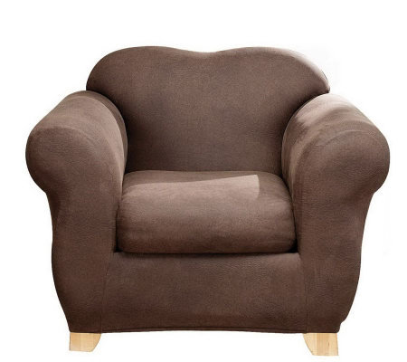 Sure Fit Stretch Faux-Leather Two-Piece Chair Slipcover