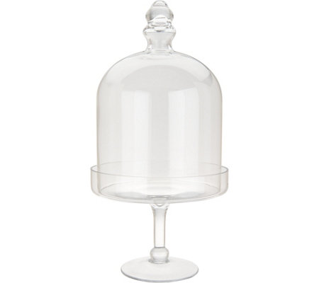 2-Piece Glass Cloche on Pedestal with Footed Base by Valerie H211880