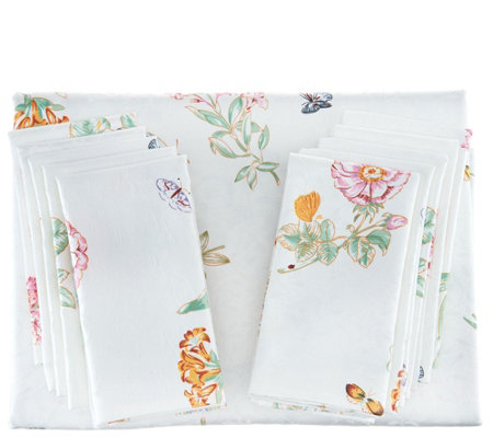 "Lenox Butterfly Meadow 60""x120"" Water Repel Tablecloth w/ 10 Napkins"