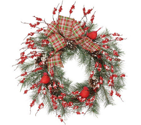 "Cardinal and Berry 22"" Wreath with Plaid Bow by Valerie"