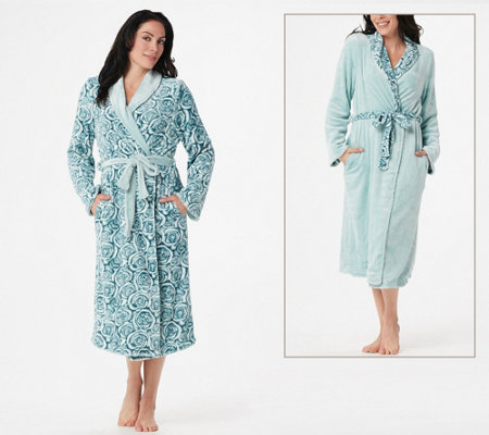 Casa Zeta-Jones Reversible Velvet Soft Signature Rose Robe