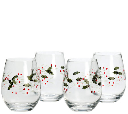 Pfaltzgraff Winterberry Set of 4 Stemless WineGlasses