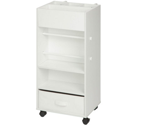 Honey-Can-Do White Storage Cart with Fabric Drawer