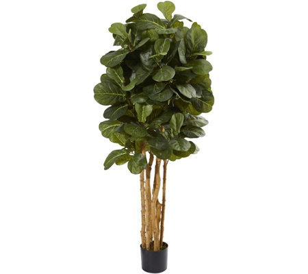 5' Fiddle Leaf Fig Tree in Black Planter by Nearly Natural