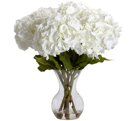 Large Hydrangea Vase Flower Arrangement by Nearly Natural