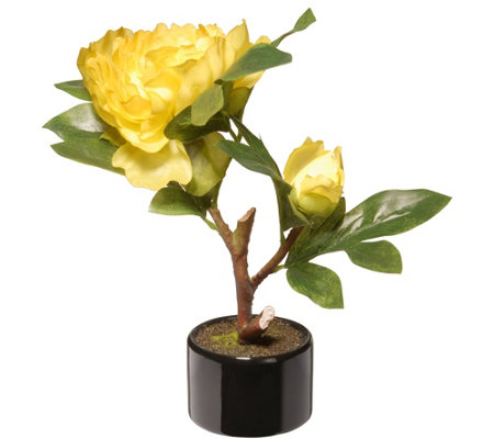 "National Tree Company 9-1/2"" Yellow Peony Flower"