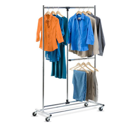 "Honey-Can-Do 80"" Dual Bar Adjustable Garment Rack"