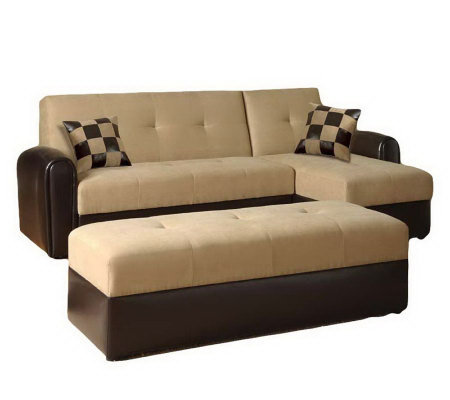 Lakeland Microfiber & Leather Bycast Storage Sofa w/Ottoman
