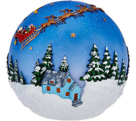 "Plow and Hearth Outdoor/Indoor 8"" Glowing Sphere with Holiday Scene"