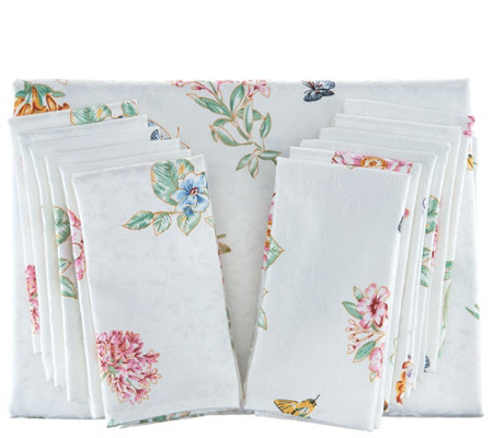 "Lenox Butterfly Meadow 60""x140"" Water Repel Tablecloth w/ 12 Napkins"