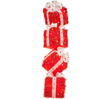 Indoor/Outdoor Illuminated Stacked Presents by Valerie