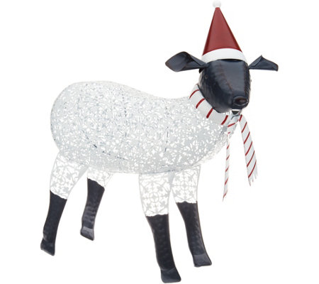 Plow & Hearth Oversized Metal Sheep with Hat and Scarf Details
