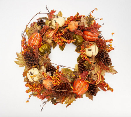 "28"" Oversized Pumpkin and Maple Leaf Twig Wreath by Valerie"