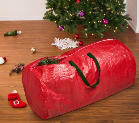 Honey-Can-Do Tree Storage Bag: Red with Green Handles