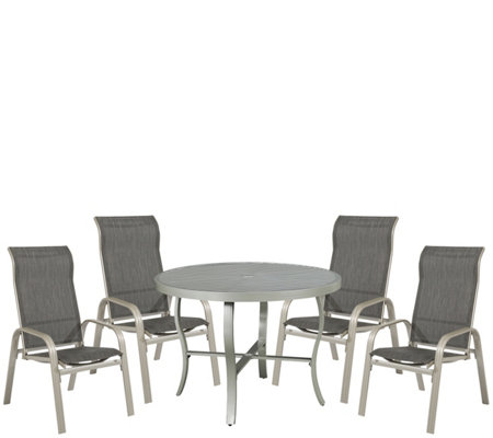"South Beach 42.5"" Round Outdoor Dining Table &4 Chairs"