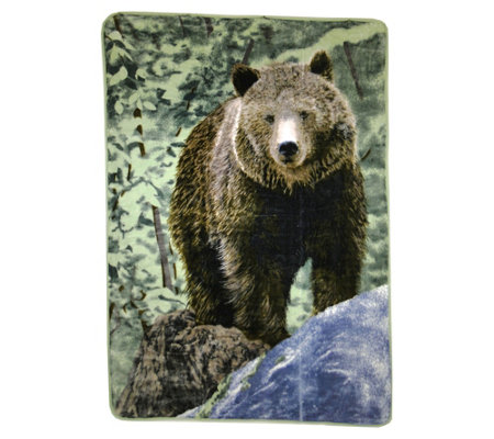"Shavel Hi Pile 60"" x 80"" Bear on Rock Luxury Throw"