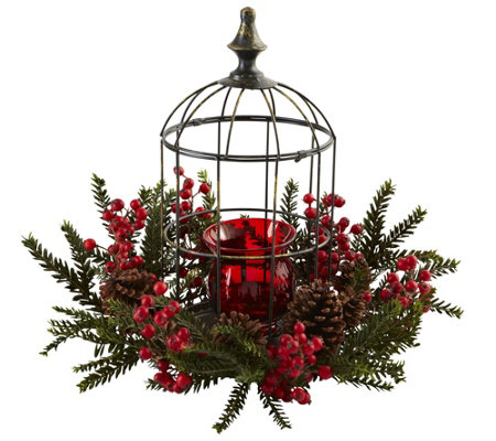 Pine Berry Birdhouse Candelabrum by Nearly Natural