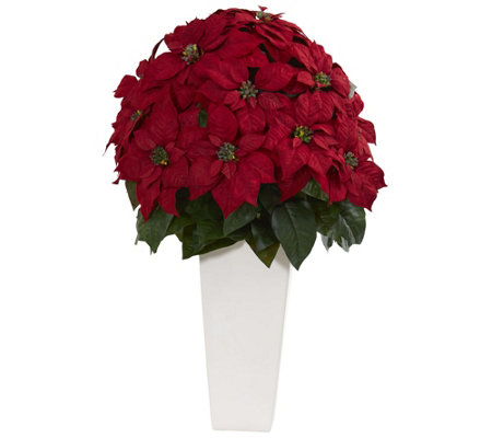 "32"" Poinsettia in Planter by Nearly Natural"