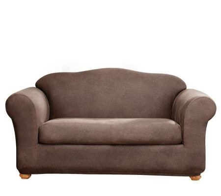Sure Fit Stretch Faux-Leather Two-Piece Love Seat Slipcover