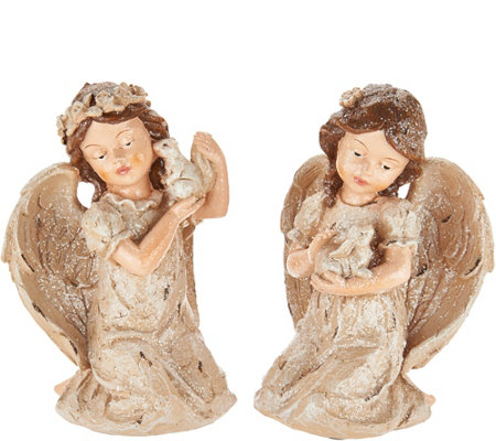 Set of 2 Vintage Angels Holding Animals by Valerie