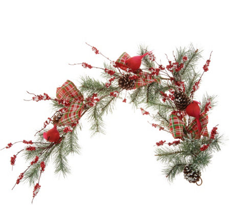 Cardinal and Berry 4' Garland with Plaid Bows by Valerie