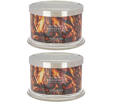 HomeWorx by Harry Slatkin Set of 2 Autumn Bonfire 18-oz 4-Wick Candles