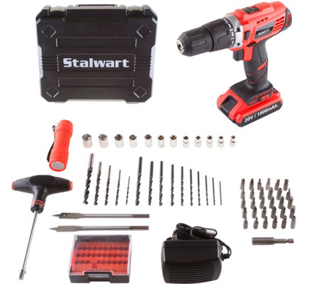 Stalwart 20v Lithium Ion 62 Pc 2 Speed Hammer Drill Kit