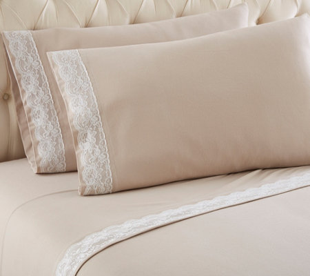 Shavel Micro Flannel Lace Edged Twin Sheet Set