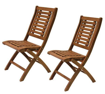 Outdoor Interiors Eucalyptus Folding Chairs, Set of 2