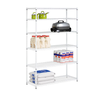 Honey-Can-Do 6-Tier White Steel Commercial Grade Shelving Uni