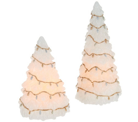 Set of 2 Candle Impressions Flameless Tree Candles with Light Strands