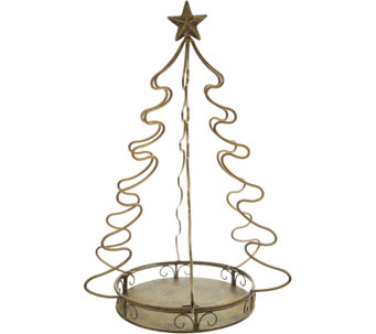 indooroutdoor metal pineapple or tree accent by valerie h211383 - Qvc Outdoor Christmas Decorations