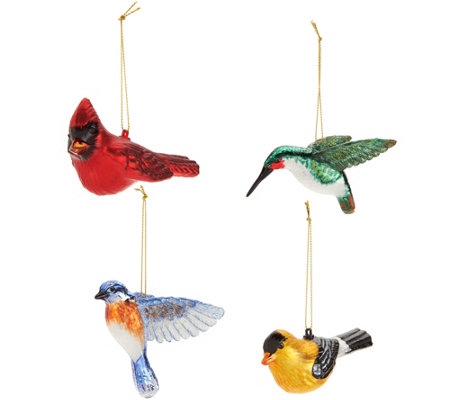 David Dangle Home Collection S/4 Blown Glass Bird Ornaments w/Satin Box
