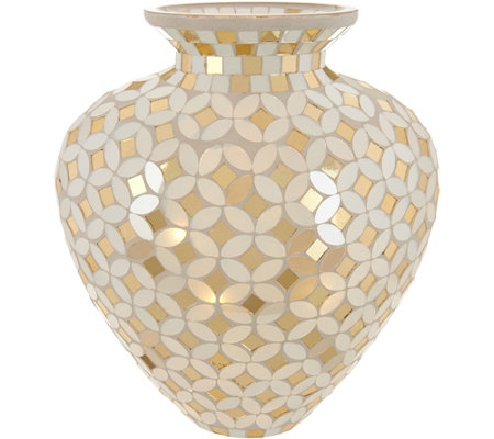 Mosaic Glass Curved Vase w/ Microlights and Timer by Valerie
