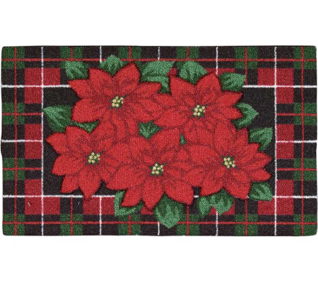 "Nourison Enhance 17"" x 28"" Christmas PoinsettiaRug"