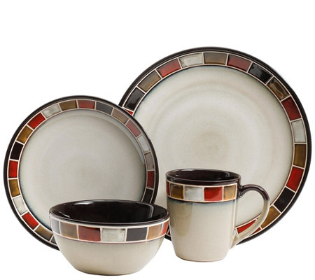 Gibson Elite Casa Roja Reactive Glaze 16-PieceDinnerware Set