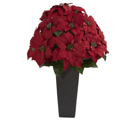 "27"" Poinsettia in Planter by Nearly Natural"
