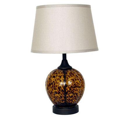 Tortoise Glass Font 23 1 2 Table Lamp Qvc Com