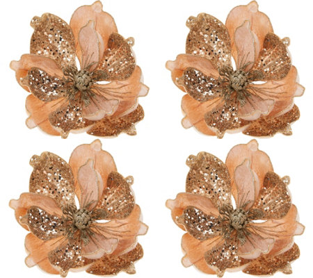Set of (4) Glittered Magnolia Clips by Valerie