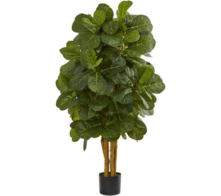 4' Fiddle Leaf Fig Tree in Black Planter by Nearly Natural