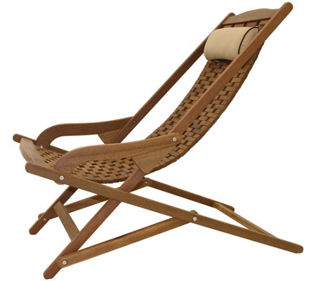 Outdoor Interiors Eucalyptus Swing Lounger withHead Pillow