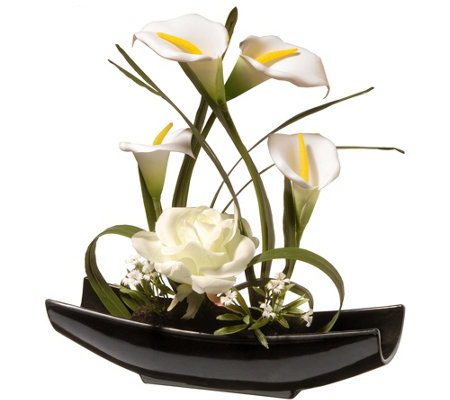 "National Tree Company 11"" White Rose and CallaLily Flowers"