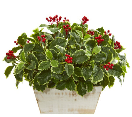 Variegated Holly Leaf Plant Real Touch by Nearly Natural