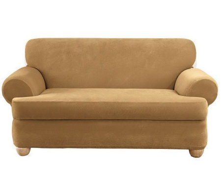 Sure Fit Stretch Pique 3-Piece T-Cushion Sofa Slipcover — QVC.com
