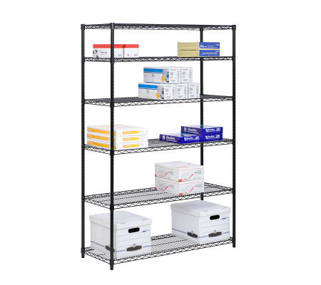 Honey-Can-Do 6-Tier Black Steel Commercial Grade Shelving Uni
