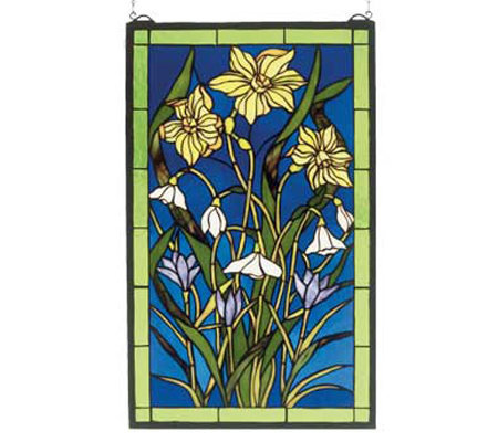 Tiffany Style Spring Bouquet Window Panel