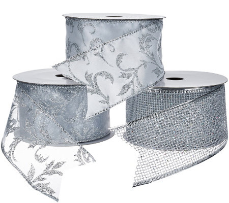 """As Is"" Set of 3 2.5"" Wide 10 Yard Wired Glitter Ribbons"